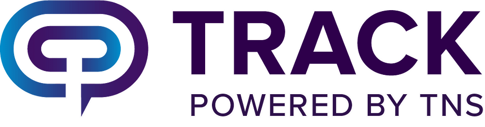Track's logo has a race track on the left.