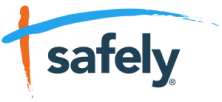 There's a red vertical line as the start of Safely's logo and a blue line across the top.